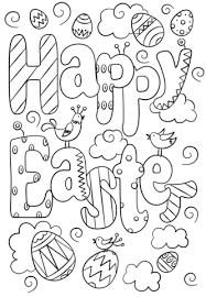 happy easter doodle coloring page free printable coloring pages