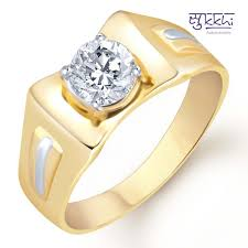 gold ring for men buy sukkhi gold rhodium plated solitaire cz ring for men online