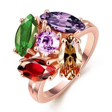 colored rings images 2018 popular rings silver plated golden ring may flower with jpg