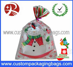 cellophane plastic treat bags recyclable with snowman printed