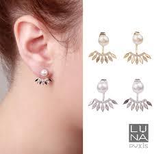 sided earrings gold silver pearl leaves ear jackets earrings ear jacket