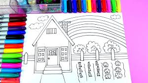 pretty house and small farm coloring page learn colors and diy