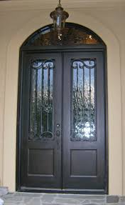 metal front doors with glass custom wrought iron double entry door with arch top transom