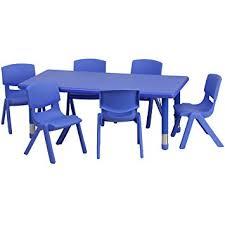 Blue Table L Flash Furniture 24 W X 48 L Rectangular Blue Plastic