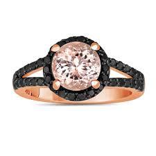 pink and black engagement rings pink morganite and black diamonds engagement ring 2 04 carat halo