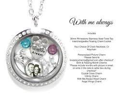 in loving memory lockets memorial necklace with me always personalized picture charm