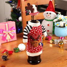 free dhl christmas deer knitting wool red wine glass champagne