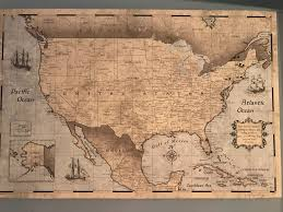 Personalized World Travel Map by Usa Travel Map Pin Board W Push Pins Rustic Vintage Conquest Maps