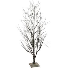 6 led lighted frosted brown twig tree warm clear