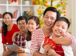 tet envelopes happy family celebrating tet stock photo image of celebrating