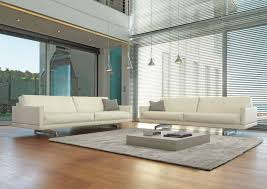 Contemporary Tan Living Room With White Leather Sofa And Square - White leather sofa design ideas