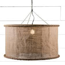 Burlap Chandelier Shades Linen Shade Large Drum Light Antique Farmhouse