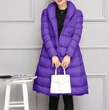 chic womens parka cotton down blend a type warm long dress coat