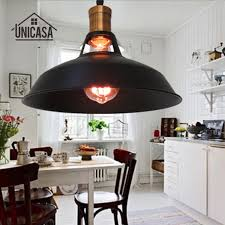 ilot de cuisine antique noir métal luminaires vintage industrielle pendentif lumières îlot