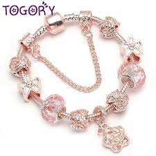 fine charm bracelet images Togory rose gold charm bracelets bangles with flower pendant jpg