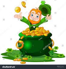 cute cartoon leprechaun sitting on pot stock vector 381536086