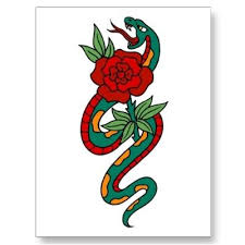 cool traditional snake with rose tattoo design