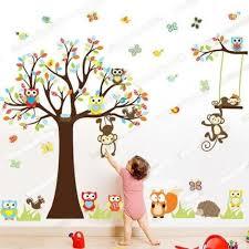 stickers arbre chambre enfant sticker mural hibou singe arbre déco decal pépinière chambre