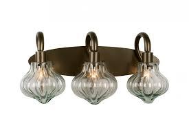Glass Vanity Light Two Light New Bronze Recycled Handmade Vintage Glass Vanity