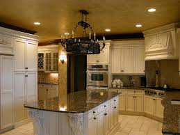 awesome tuscan kitchen design with white cabinet and chandeliers