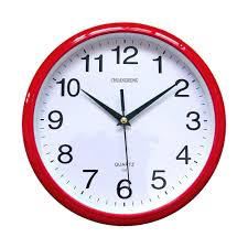 modern red wall clock quartz non ticking silent sweeping seconds