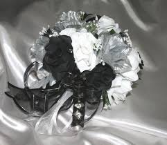 wedding flowers ebay wedding bridal bouquet black white silver silk wedding flowers 21