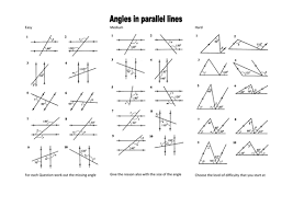angles in parallel lines level 6 grade c by mrobertson1987