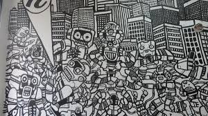 cell phone city take over graffiti wall mural heyapathy surreal robot cell phone mural