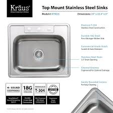 How To Measure For A Kitchen Sink by Kraus Ktm25 25 Inch Topmount Single Bowl 18 Gauge Stainless Steel