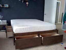 Diy Platform Bed And Storage by Brown Lacquered Oak Wood Bed Frame With Storage Drawers Of