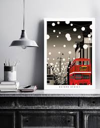 oxford street christmas in london illustrated poster print art