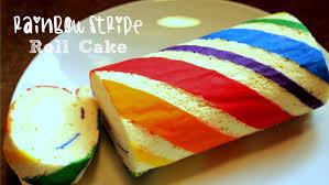 how to make a rainbow stripe roll cake youtube
