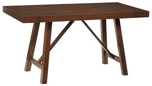 Standard Counter Height by Standard Furniture Omaha Brown Counter Height Trestle Table With 2