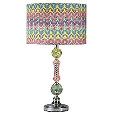 Pink Table Lamp Bohemian Blue Stacked Glass Table Lamp Amazon Com