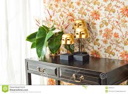 Interior Design With Flowers Side Table With Flowers And Interior Decoration Royalty Free Stock
