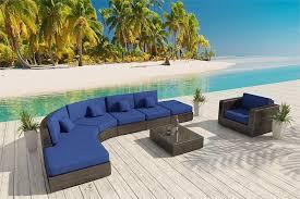 Outdoor Patio Furniture Wicker Zanzibar L Shaped Bronze Furniture Set 14