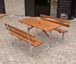 Commercial Picnic Tables by Galvanised Steel And 32mm Timber Picnic Bench 6 Seater 150cm