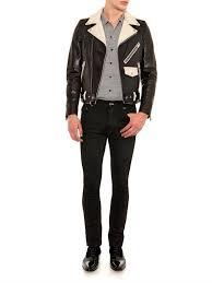 black motorbike jacket saint laurent bi colour leather biker jacket in black for men lyst