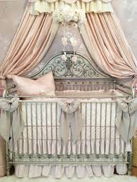 Vintage Style Crib Bedding Harlow S Blush Nursery Linen And Lace Vintage Nursery Style