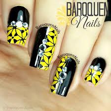 yellow nail design baroquen nails
