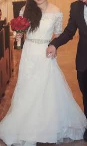 Off The Shoulder Wedding Dresses David U0027s Bridal Jewel 3 4 Sleeve Off The Shoulder Wedding Dress