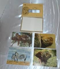 16 note cards blank world wildlife fund zebra elephant