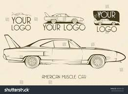 american car logos american classic muscle car silhouettes outlines stock vector