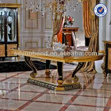 Best Quality Dining Room Furniture 0061 High Quality Gold Foil Solid Wood Dining Table Villa Italy