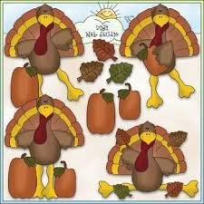 silly turkey clip thanksgiving clip cu colored clip
