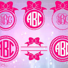 bow monogram bow monogram frame vinyl htv decal from svgsalon on etsy