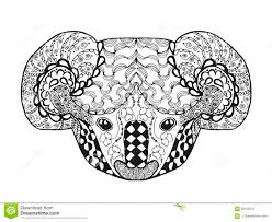 zentangle stylized koala head sketch for tattoo or t shirt stock