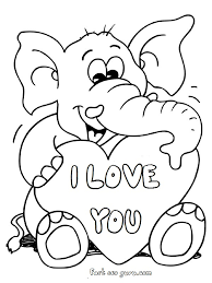 elephant love coloring page printable valentines day teddy elephant card coloring pages 1d