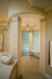 beautiful shower right in the middle of the bathroom dark fine