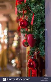 classic christmas decorations of green branches and red colored